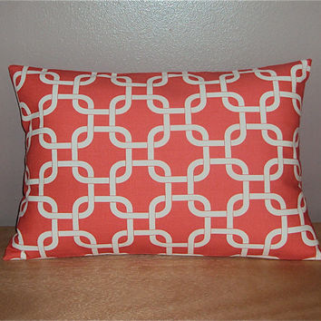 Decorative Geometric Lumbar Pillow Cover In Coral Chain Link Fabric - 3 Sizes Available