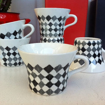 Rörstrand Sweden Red Top tea cups!! Set of six 1950s, Scandinavian black and grey check ceramic cups!