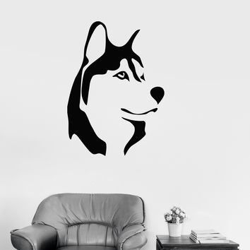 Vinyl Decal Husky Dog Animal Kids Room Man Cave Decor Wall Stickers Unique Gift (ig132)