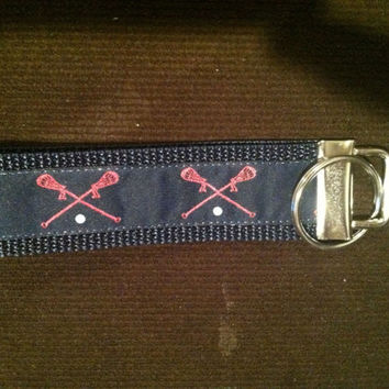 Pink Lacrosse Sticks on Navy Blue Jacquard Ribbon and Navy Blue Webbing Key Fob/ Keychain/ Wristlet