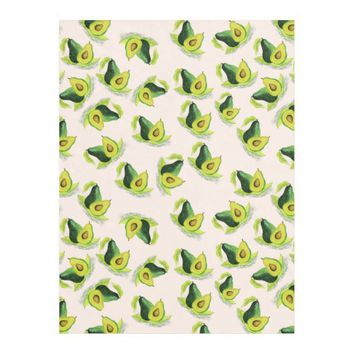 Green Avocados Watercolor Pattern Fleece Blanket