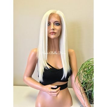 White Blonde 7x4 Multi Parting Handtied SWISS Blended Human Hair Lace Front Wig - Sarah