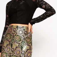 ASOS Metallic Jacquard Mini Skirt
