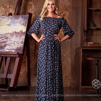 Dark blue floral summer Dress, floral maxi off shoulder dress, open shoulder long dress, short sleeve viscose dress, full length beach dress