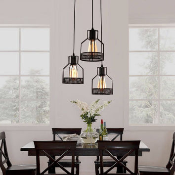 Rustic Black Metal Cage Dining Room Pendant Light with 3 Lights
