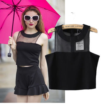 Women's Fashion Transparent Sleeveless Tops T-shirts Vest Bottoming Shirt [6047542209]