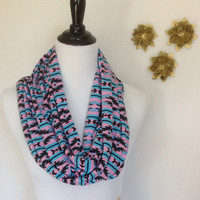 Blue and pink tribal print Infinity scarf, Blue and pink northwestern scarf, jersey knit scarf, infinity scarf bridesmaid gift