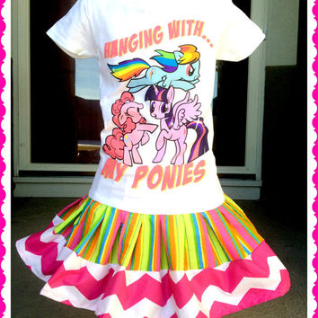 RTS girls My Little Pony tee knit twirl party Dress layers of ruffle size size 4/5 6/6X 7/8 ready to ship today