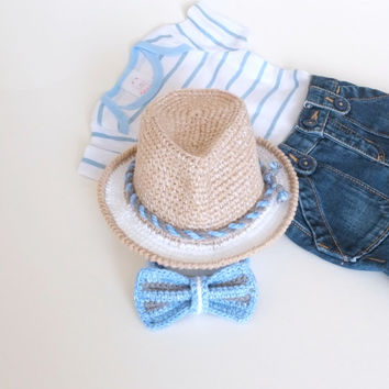 Baby Boy Shower Gift Fedora Hat Bow Tie Set Crochet Cotton Hat Set Baby Photo Props Cute Hats by Mila Infant Summer Hat Toddler Fedora Hat
