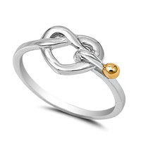 .925 Sterling Silver and Yellow Gold Infinity Heart Knot Ring Ladies size 5-10