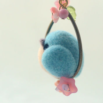 Handmade turquoise blue bird necklace, needle felt bird necklace, soft sculpture wool bird on flower hoop, whimsical jewelry, gift under 25
