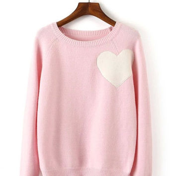 Heart Knit Crop Sweater