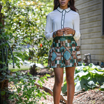 Classy Bold African Print Ankara Wax Pleated Skirt Handmade Above the Knee Customized Afro Couture African Clothing Sale