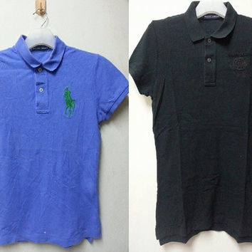 sale Lot Of Two (2)Vintage Ralph Lauren Skinny Polo Style Casual Golf Polo Shirt for Girls Womens