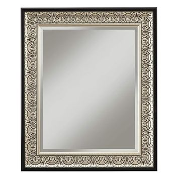 Wall Mirror With Intricately Carved Polystyrene Frame, Antique Silver and Black