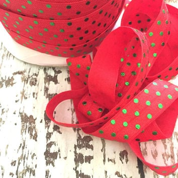 """Red Green Foil Dots Print 5/8"""" Fold Over Elastic, FOE, Hair Accessory Supplies - 5 yards"""