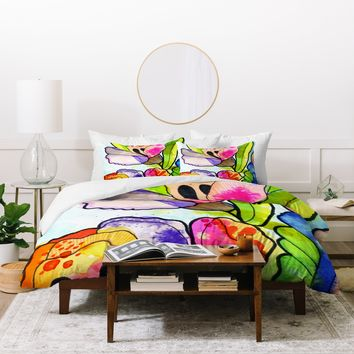 CayenaBlanca Queen Flower Duvet Cover