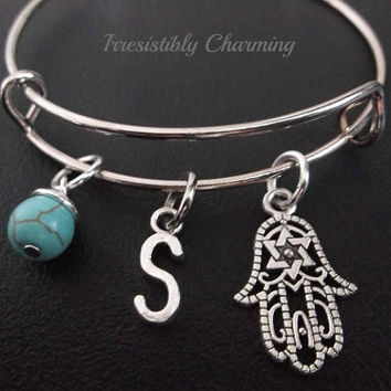 Hamsa Stainless Steel Expandable Bangle, monogram personalized item No.215