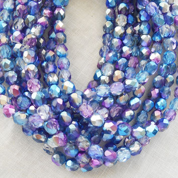 Lot of 25 6mm multicolored purple, blue and silver Czech glass beads, firepolished faceted round beads C0625