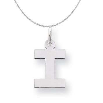 Silver, Amanda Collection Small Block Style Initial I Necklace