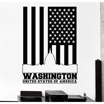 Vinyl Wall Decal Washington United States America Flag Stickers Unique Gift (917ig)