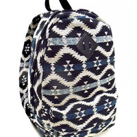 Dusty Blue Tribal Print Backpack