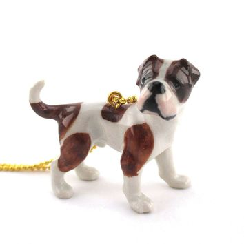 3D Porcelain American Bulldog Boxer Dog Themed Ceramic Pendant Necklace
