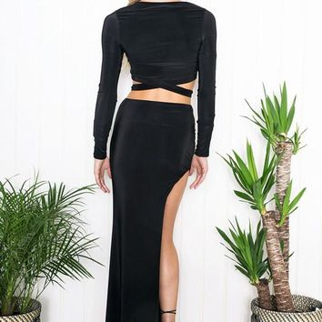 Black Plain Irregular Cut Out Two Piece Side Slit Maxi Dress