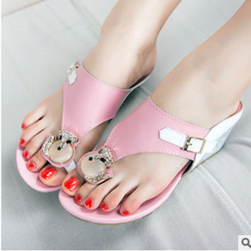 Female's Brand New Genuine Real leather Cute Girls Wedge Chunky High Heels sandals Women Zoris Flip flops Plus size 40 41 Pink