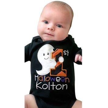 2017 Autumn Black Infant Baby alloween Costume Letter Long Sleeve Romper Jumpsuit Clothes
