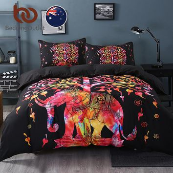 BeddingOutlet Super Soft Duvet Cover Set with 2 Pillow Shams Elephant Mandala Bedding Set Bohemia Exotic Quilt Cover AU Single