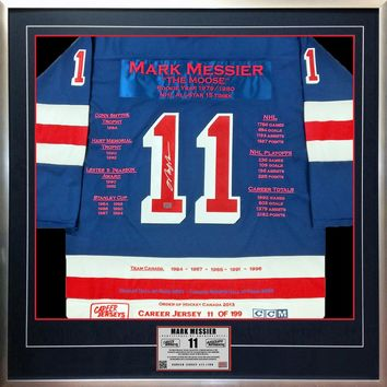 MARK MESSIER NYR CAREER JERSEY #11 OF 199 AUTOGRAPHED - NEW YORK RANGERS