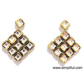 Diamond shaped Kundan Earring