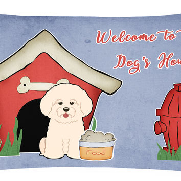 Dog House Collection Bichon Frise Canvas Fabric Decorative Pillow BB2829PW1216
