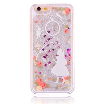 Unique shining sand Girl Phone Case Cover for Apple iPhone 7 7 Plus 5S 5 SE 6 6S 6 Plus 6S Plus + Nice gift box! LJ160927-005