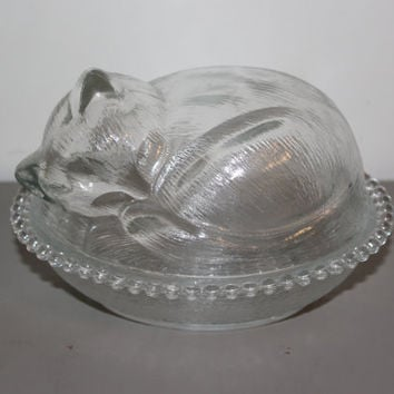Indiana Glass Co. sleeping cat glass trinket bowl - Glass kitten, glass collectibles, animal figurines, candy dish, candy bowl