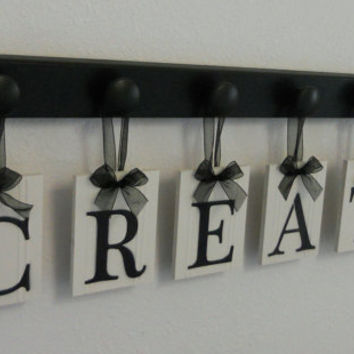 CREATE Personalized Hanging Letter Sign Set Includes 6 Peg Board Painted - Black Room Decor / Wall Decor