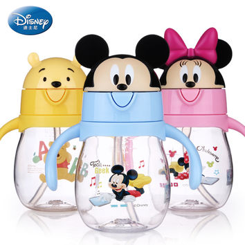 Disney Water Bottle Kawaii Baby feeding Cup with handle Flip lid Leak proof Small Kettle My bottle mickey mouse sippy cup 270ML