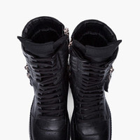 Rick Owens Black Cargo Basket Boots for Men | SSENSE