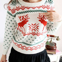 Snowflakes and Deer Embroidered Knitted Sweater