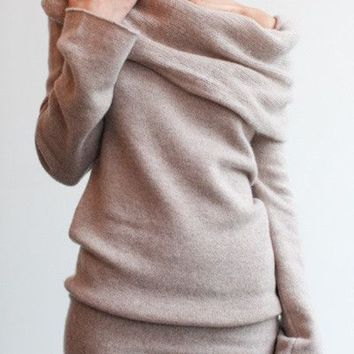 Heap Collar Long Sleeve Knitted Sweater