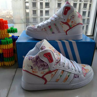 """Adidas"" Women Casual Multicolor Floral High Help Shoes Sneakers Plate Shoes"