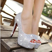 Sparkling rhinestone wedding shoes open toe high-heeled white single shoes women's p
