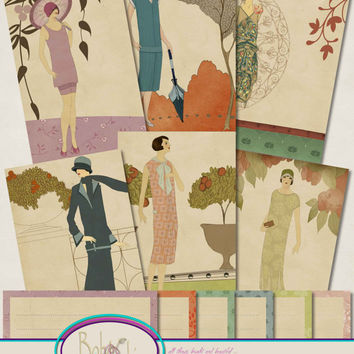 Flapper Fashion Seed Sachet Notelets, Vintage 1920s, Stationery Set, Seed Packets, Note Card and Envelope, Instant Download,