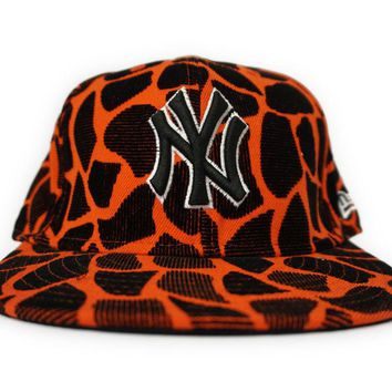 NEW ERA NEW YORK YANKEES ORANGE BLACK MEN FITTED HAT SIZE 7 1/2
