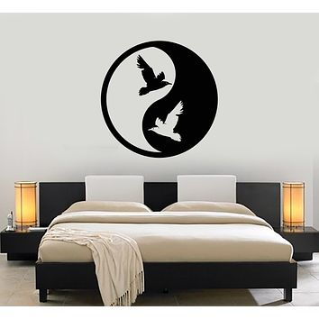Vinyl Wall Decal Yin Yang Symbol Buddhism Religion Birds Stickers (3298ig)