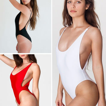 2016 Sexy Thong One piece Swimsuit High cut Swimwear Monokini Swimming Suit For Women Beachwear