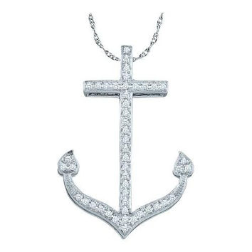 10KT White Gold 0.15CTW DIAMOND ANCHOR PENDANT