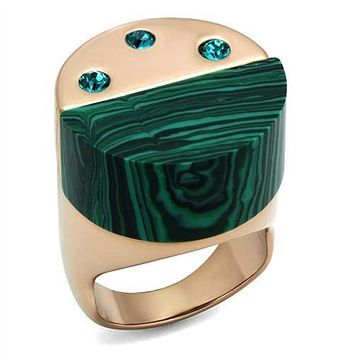 WildKlass Stainless Steel Ring IP Rose Gold(Ion Plating) Women Synthetic Emerald