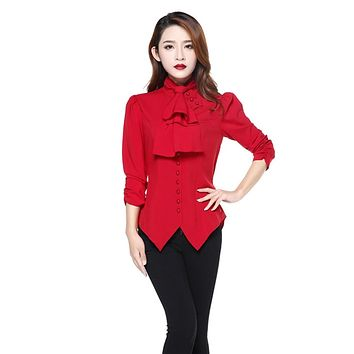 Gothic Victorian Steampunk Red Ruffle Tie Neck Rutched Sleeve Blouse